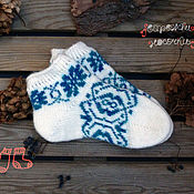 Аксессуары handmade. Livemaster - original item Short wool socks with ornament. Handmade.