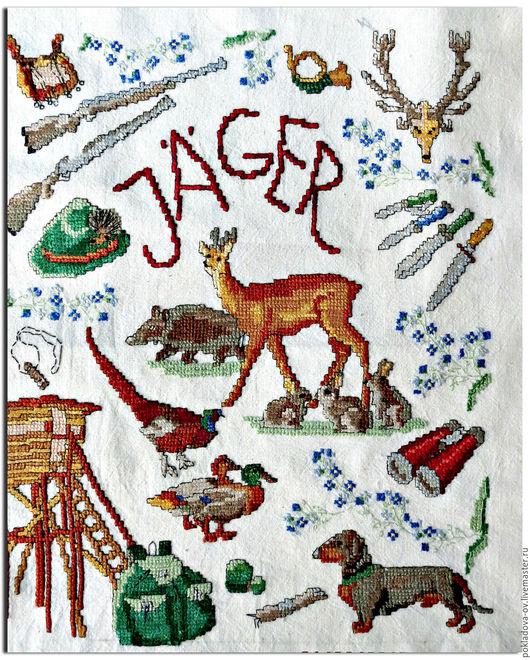 """Животные ручной работы. Ярмарка Мастеров - ручная работа. Купить Вышитая Картина-пано """"Охотник"""". Handmade. Бежевый, дикие животные"""