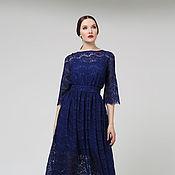 Одежда ручной работы. Ярмарка Мастеров - ручная работа Платье из синего кружева. Handmade.