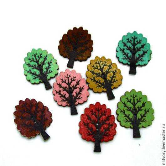 Шитье ручной работы. Ярмарка Мастеров - ручная работа. Купить Пуговицы деревянные «Дерево». Handmade. Разноцветный, пуговицы, пуговица