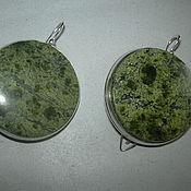 Украшения handmade. Livemaster - original item Elegant SERPENTINE earrings,large stone! silver.. Handmade.