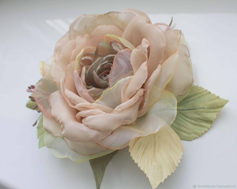 Brooch flower fabric chiffon rose ' Sarita', Brooches, Vidnoye,  Фото №1