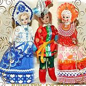 Мягкие игрушки ручной работы. Ярмарка Мастеров - ручная работа Русские куклы - Гжель, Петрушка и Дымковская барышня. Handmade.