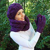 Аксессуары ручной работы. Ярмарка Мастеров - ручная работа Комплект фиолетового цвета: снуд, берет, рукавички. Handmade.