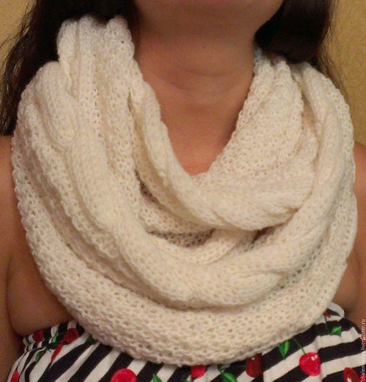 """Шарфы и шарфики ручной работы. Ярмарка Мастеров - ручная работа. Купить Снуд шарф """"Белый"""". Handmade. Белый, снуд женский"""