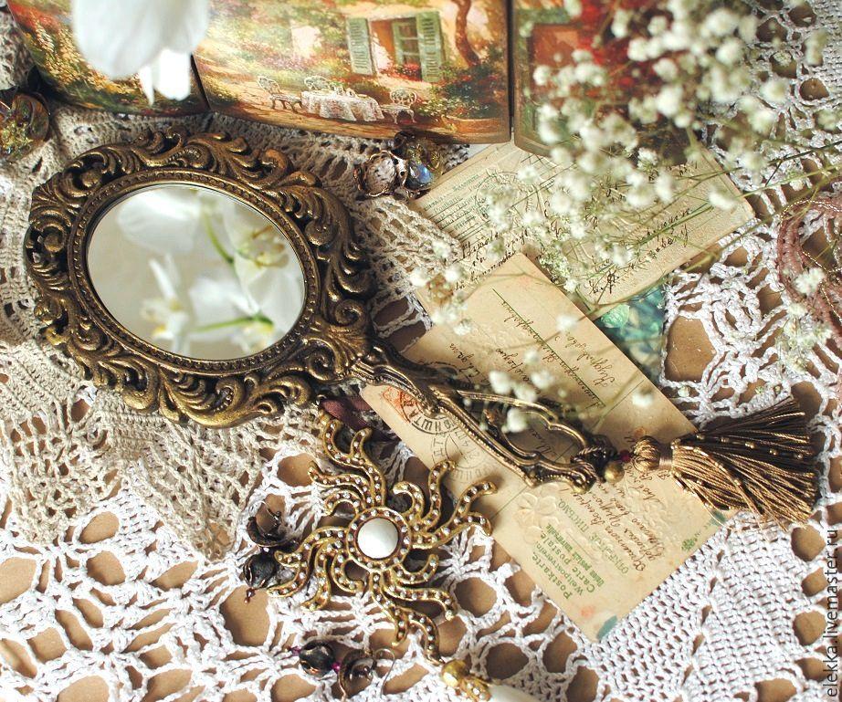 Зеркало с ручкой Розы Подарок девушке