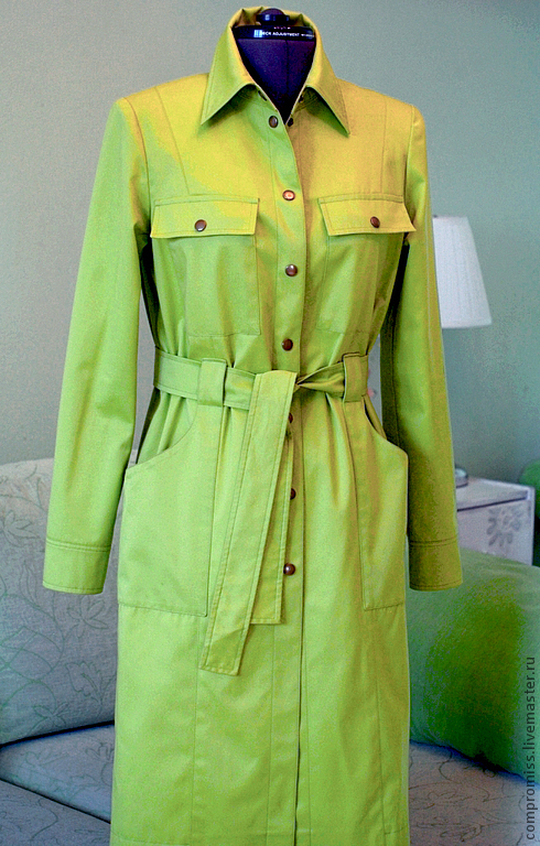 Верхняя одежда ручной работы. Ярмарка Мастеров - ручная работа. Купить летний плащ. Handmade. Ярко-зелёный, индивидуальный пошив