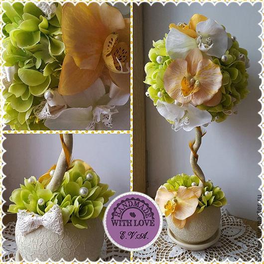 """Топиарии ручной работы. Ярмарка Мастеров - ручная работа. Купить Топиарий """"Живая орхидея"""", дерево счастья. Handmade. Салатовый"""