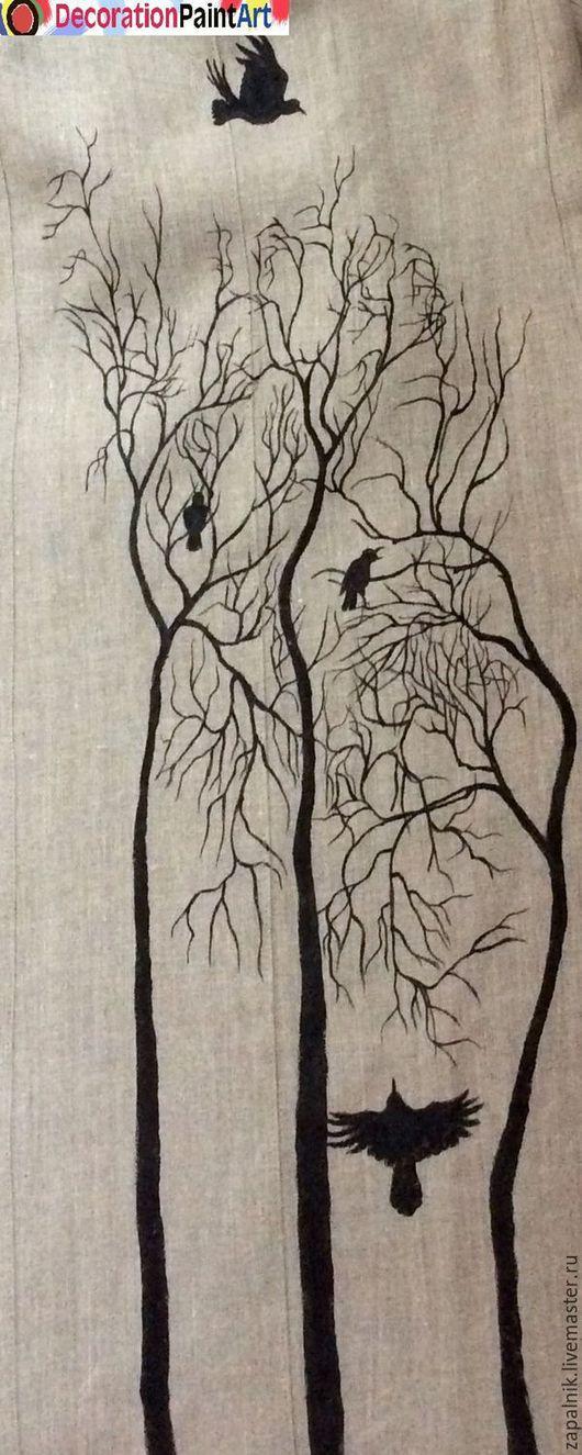 """Верхняя одежда ручной работы. Ярмарка Мастеров - ручная работа. Купить Летнее льняное пальто с росписью, """"Грачи прилетели"""".. Handmade."""