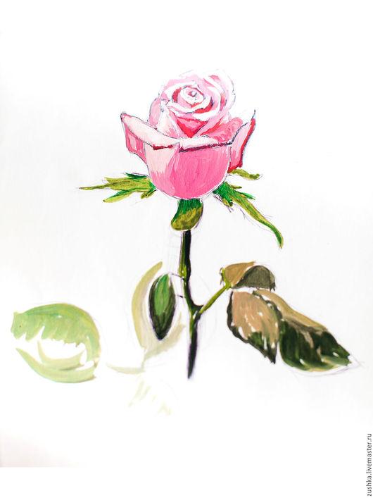 Картины цветов ручной работы. Ярмарка Мастеров - ручная работа. Купить Роза. Handmade. Розовый, роза, картина в подарок, для интерьера