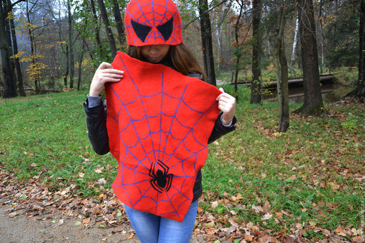 Банные принадлежности ручной работы. Ярмарка Мастеров - ручная работа. Купить Человек-паук. Handmade. Ярко-красный, шапка для бани