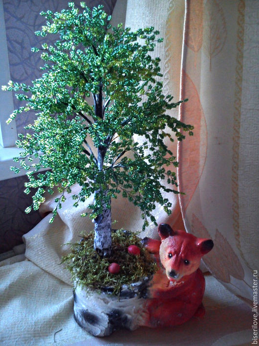 Деревья ручной работы. Ярмарка Мастеров - ручная работа. Купить Берёзка с мишкой. Handmade. Тёмно-зелёный, лес, подарок, гипс