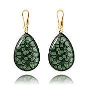 Украшения handmade. Livemaster - original item Earrings drops dark green classic