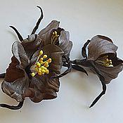 """Украшения ручной работы. Ярмарка Мастеров - ручная работа цветы из кожи, брошь """"Степные цветы"""". Handmade."""