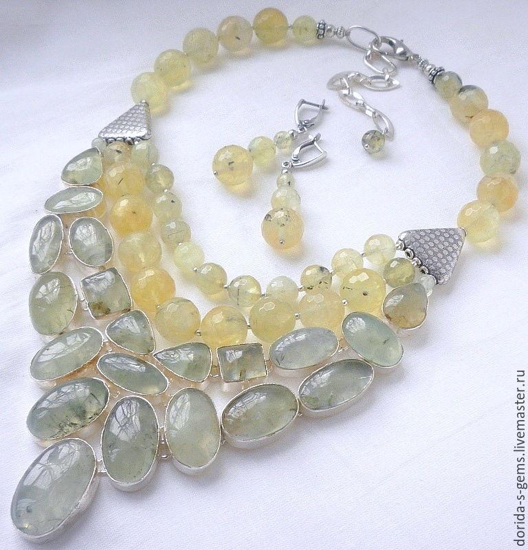 necklace, designer necklace, elegant necklace, necklace for every day necklace out, the necklace of prehnite, necklace, prehnite necklace, prehnite beads, beads grape prehnite, prehnite jewelry