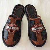 """Обувь ручной работы. Ярмарка Мастеров - ручная работа Кожаные тапочки """" Harley- Davidson""""-44. Handmade."""