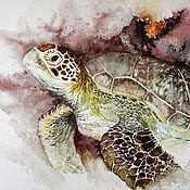 Картины и панно handmade. Livemaster - original item Turtle watercolor painting. Handmade.