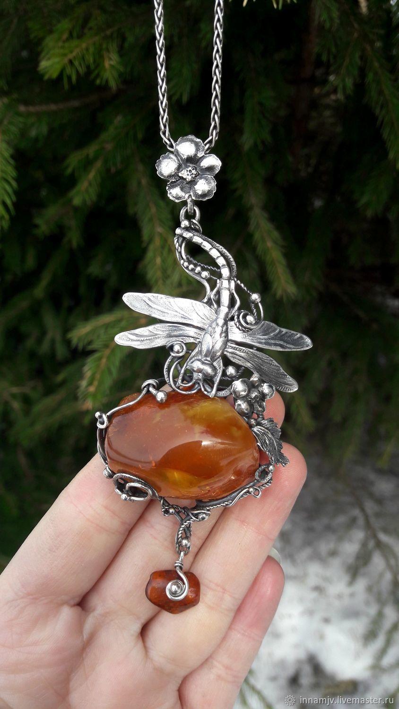Silver Amber Pendant. Pendant 'Dragonfly', Pendant, Nizhny Novgorod,  Фото №1