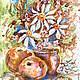 Картина `Кофейные ромашки` Катерины Аксеновой.Яблоки зеленый (Акварель,кофе,20/30)ромашки натюрморт кофе,натюрморт с ромашками,купить ромашки картины ,купить картину ромашки,