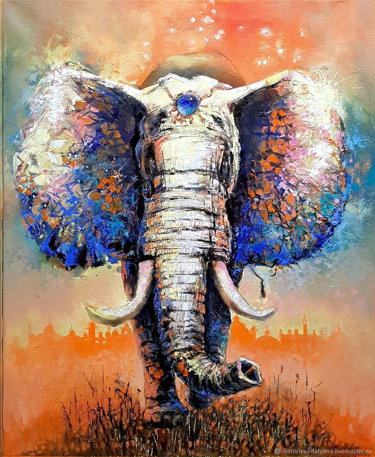 Elephant abstract oil painting palette knife Painting, Pictures, Schyolkovo,  Фото №1