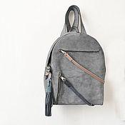 Сумки и аксессуары ручной работы. Ярмарка Мастеров - ручная работа Серый небольшой рюкзак на молнии. Handmade.