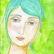 Картины и панно ручной работы. Ярмарка Мастеров - ручная работа Картина Девушка, которая любит Кришну. Handmade.
