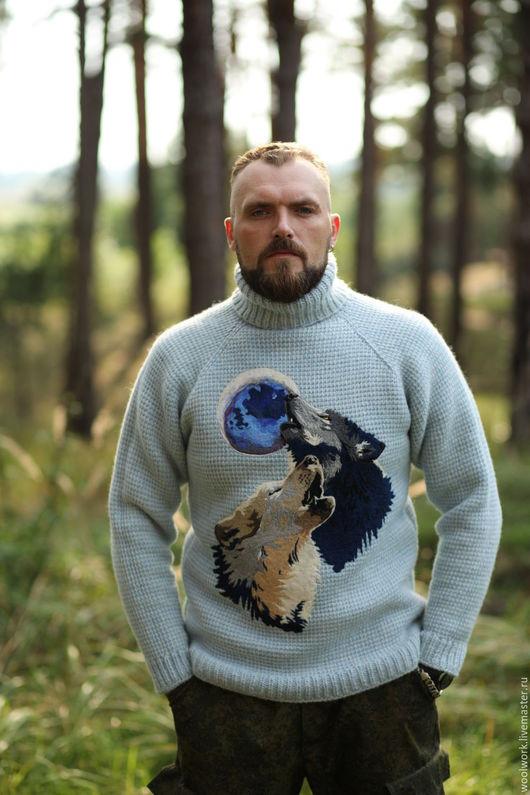 Мужской вязаный свитер композиция волки Вязаный крючком  свитер с волком рисунок волка подарок для мужчины из натуральной шерсти  для отдыха для охоты зима близко вязаная одежда шерсть  WW