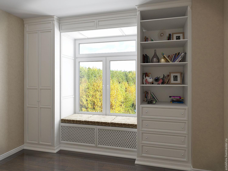 Встроенные шкафы у окна 44