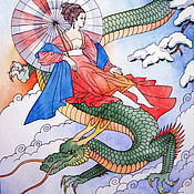 Картины и панно handmade. Livemaster - original item Watercolour Princess and a dragon. Handmade.