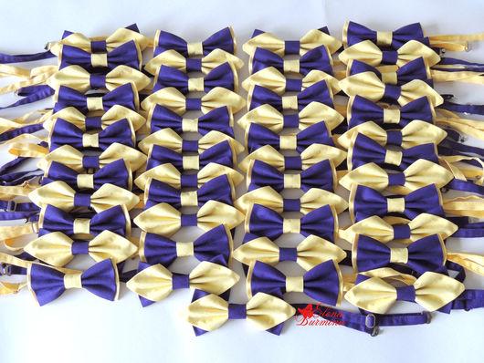 Галстуки, бабочки ручной работы. Ярмарка Мастеров - ручная работа. Купить Бабочка галстук фиолетово-желтая, хлопок. Handmade. Желтый