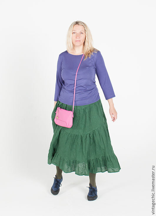 Юбки ручной работы. Ярмарка Мастеров - ручная работа. Купить Юбка темно-зеленая SARTA-013dg. Handmade. Летняя одежда