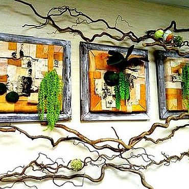 Дизайн и реклама ручной работы. Ярмарка Мастеров - ручная работа Фитодизайн стен  Береста и мох.Острова весны. Handmade.
