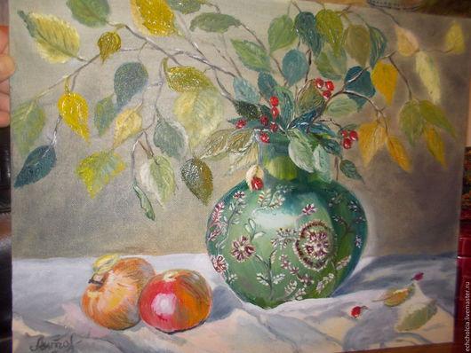 Натюрморт ручной работы. Ярмарка Мастеров - ручная работа. Купить Картина маслом Натюрморт с зеленой вазой. Handmade. Картина маслом