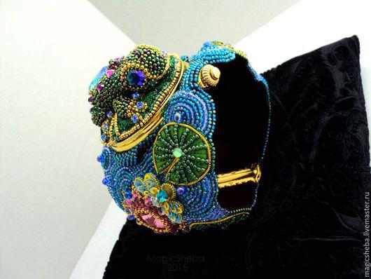 """Браслеты ручной работы. Ярмарка Мастеров - ручная работа. Купить Браслет-часы """"Лягушка"""", вышитый браслет. Handmade. Разноцветный"""