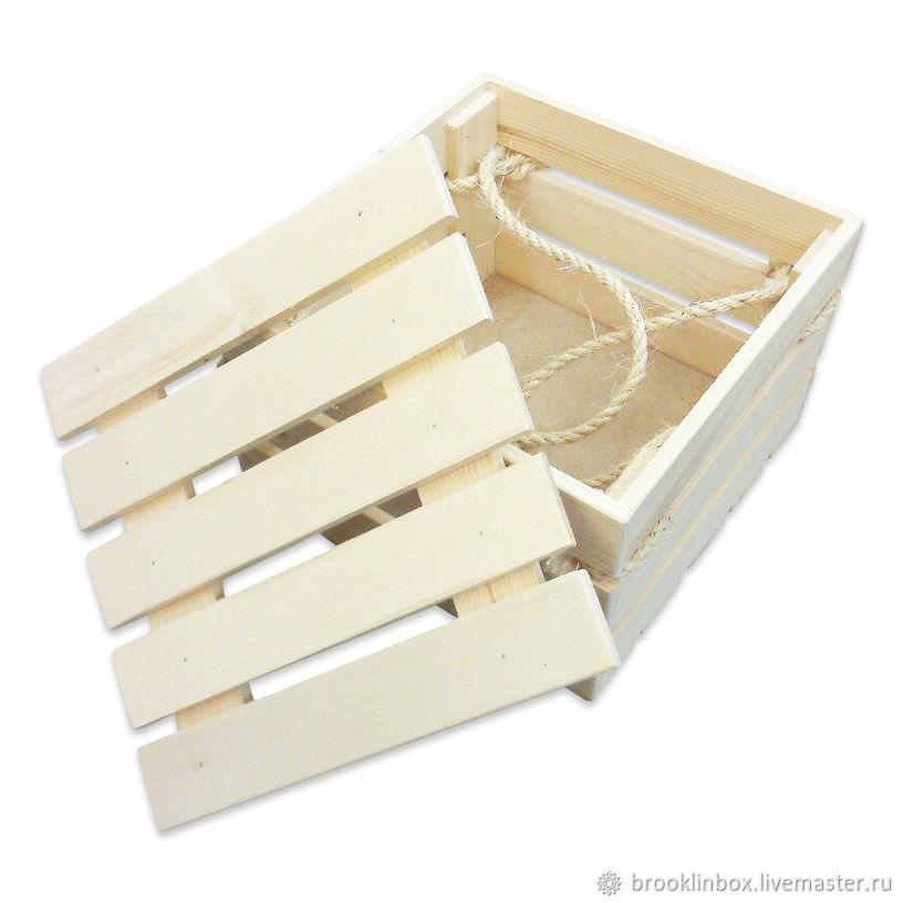 Ящик деревянный с сизалевыми ручками и гравировкой, Подарочные боксы, Клин,  Фото №1