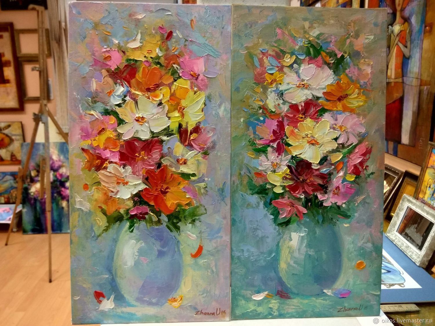 Diptych with flowers in the modern manner with a palette knife stretched 40h20 cm, Pictures, St. Petersburg,  Фото №1