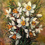 Картины ручной работы. Ярмарка Мастеров - ручная работа Картина маслом на холсте Белые Нарциссы, 40х50 см, в раме. Handmade.