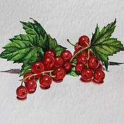 Картины и панно handmade. Livemaster - original item Watercolor Sprig of red currants. Handmade.