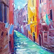 Картины и панно handmade. Livemaster - original item Oil painting on canvas. Solar street Venice. Handmade.