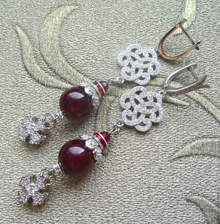Earrings 'Isabella' (agate, zircon, accessories LUX), Earrings, Moscow,  Фото №1