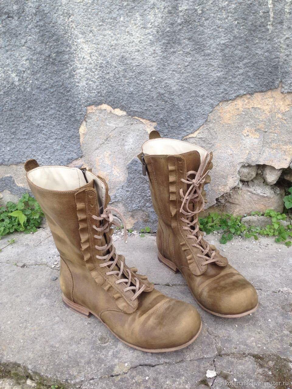 Обувь ручной работы. Ярмарка Мастеров - ручная работа. Купить Кожаные высокие ботинки LA BOHEME светло-оливковые. Handmade.