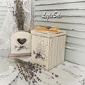 Для дома и интерьера ручной работы. Ярмарка Мастеров - ручная работа салфетница и короб для специй Лаванда в шебби. Handmade.