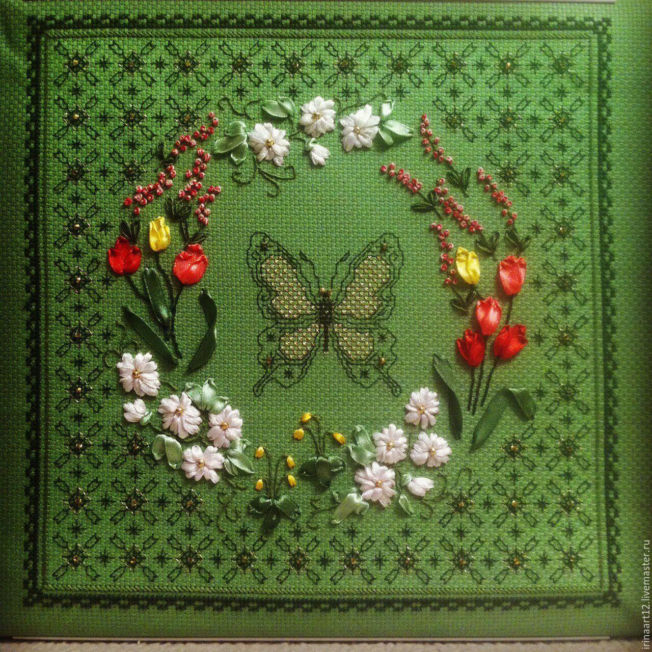 Комбинированная вышивка бисер и крест
