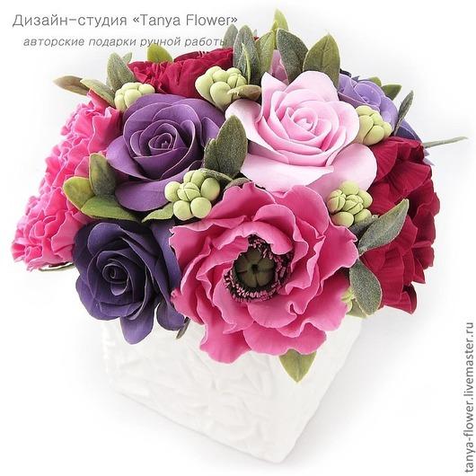 Интерьерные композиции ручной работы. Ярмарка Мастеров - ручная работа. Купить Букет с розами и пионами в вазе. Handmade. Цветы, розы