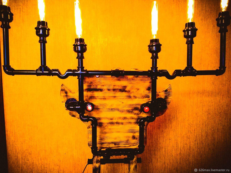 Освещение ручной работы. Ярмарка Мастеров - ручная работа. Купить Светильник Огненный олень настенный / напольный в стиле лофт. Handmade.