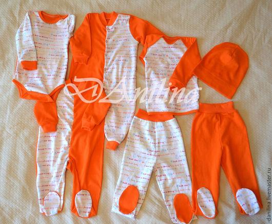 Одежда ручной работы. Ярмарка Мастеров - ручная работа. Купить Комплект одежды для малыша. Handmade. Оранжевый, ползунки