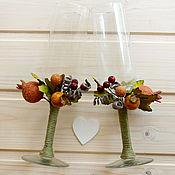 """Свадебный салон ручной работы. Ярмарка Мастеров - ручная работа Свадебные бокалы """"Осень"""" (В наличии). Handmade."""