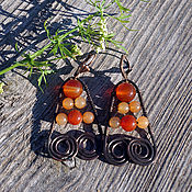 Украшения handmade. Livemaster - original item Copper earrings with carnelian and chalcedony. Handmade.