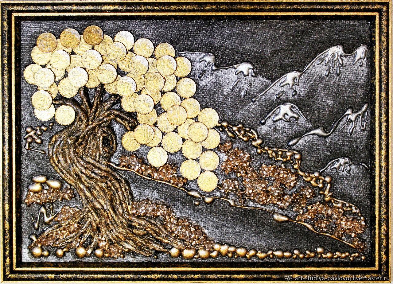 Панно объёмное денежное дерево горы пейзаж, Картины, Москва,  Фото №1
