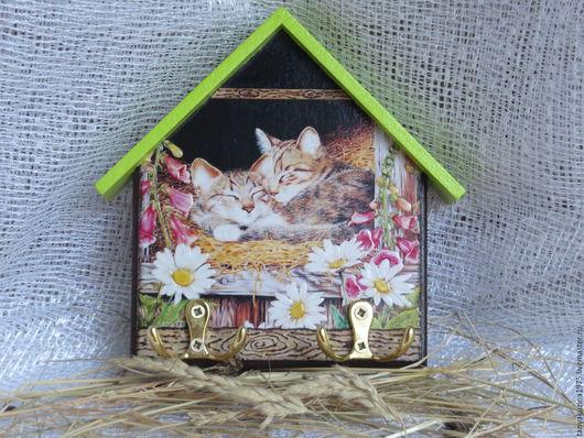 """Аксессуары для кошек, ручной работы. Ярмарка Мастеров - ручная работа. Купить Ключница """" Котята"""".. Handmade. Комбинированный, необычный подарок"""
